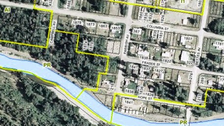 Satellite view of lots and zoning