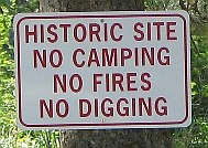 No Camping sign at Granite historical site