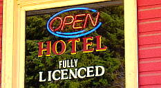 Hotel open sign