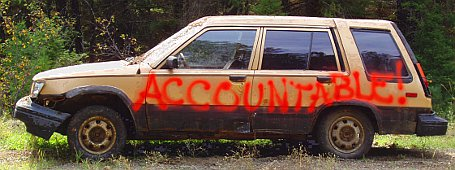 Abandoned car with accountable written on side